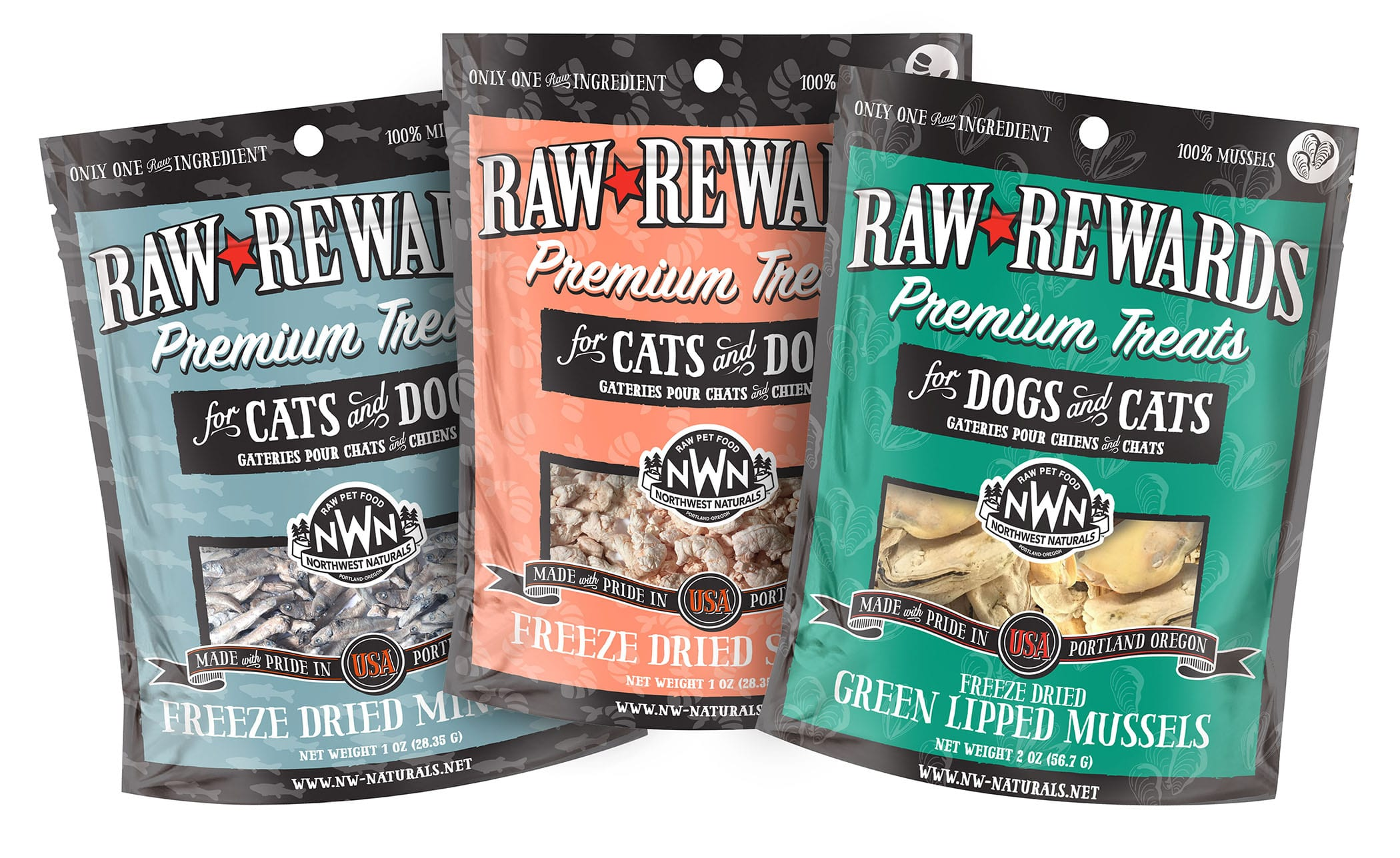 New Flavors of Raw Rewards Treats for Dogs and Cats from Northwest Naturals - Green Lipped Mussels, Shrimp & Minnows