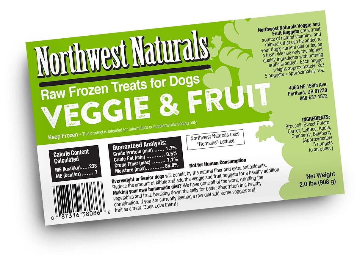 Raw Frozen Fruit & Veggie Nuggets Nutrition information Label