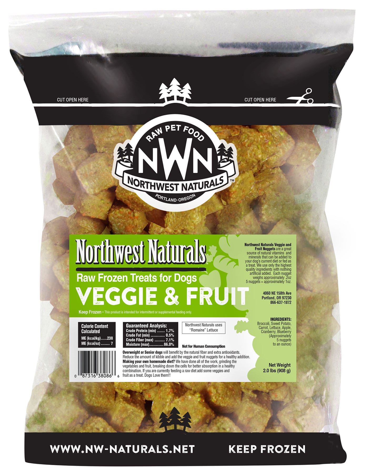 Raw Frozen Nuggets Fruits and Veggies
